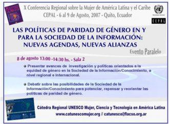 Décima ConferenciaRegional sobre la Mujer de América Latina y el Caribe (CEPAL). Aportes al Consenso de Quito. 2007