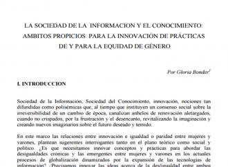La Sociedad de la Información y el Conocimiento: ámbitos propicios para la innovación de prácticas de y para la equidad de género