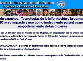 """Participación en el Grupo de expertos """"Tecnologías de la información y la comunicación (TIC) y su impacto y uso como instrumento para el avance y empoderamiento de las mujeres"""